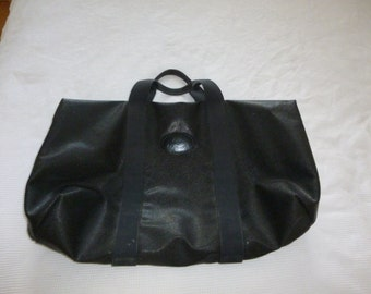 Vintage Mulberry Holdall in Black Scotchgrain Leather