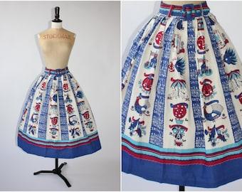 1950s Vintage Imperial Novelty Calendar Print Skirt