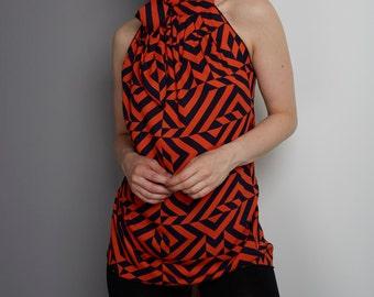 Orange and Navy Halter Neck, High Neck Halter Neck, Tie Back Wrap around Halter Neck Top, Made to order