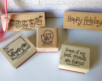 5 Christmas Rubber Stamps