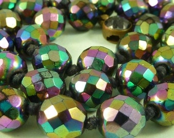 Vintage Carnival Glass Necklace Rainbow Iridescent Cut Faceted Bead Oiled