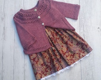 Little Cardigan - Hand Knitted - Size 1-2 - Bamboo/Merino Wool