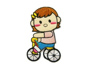 Girl Ride Bicycle Kid Patch Embroidered Applique Iron on Patch 4.9 cm. x 8 cm.