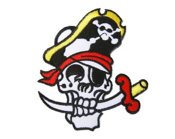 Skull Pirate Sword Embroidered Applique Iron on Patch 8 cm. x 9 cm.