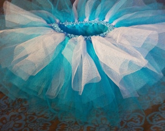 Tulle tutu skirt blue turquoise and white