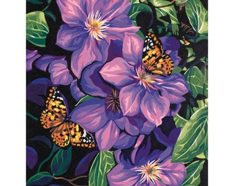 "Paint Works -Paint by Number Kit 11"" X 14 - Purple Clematis & Butterflies"