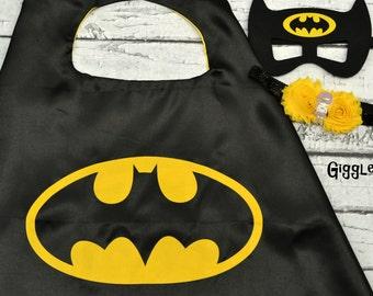 Batman Cape Mask & Headband Set - Kids Costume - Superhero - Halloween - Dress Up Boy Capes - Birthday Party Favors Capes Masks Black Yellow