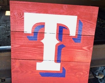 Texas Rangers Sign // TEXAS, Rangers, Baseball, Red, White, Blue, Custom Decor, Great Gift, Just Because