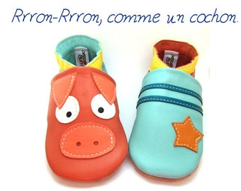 Slipper soft leather adult pig of 36 to 40