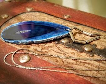 Dark Blue Agate Silver Necklace