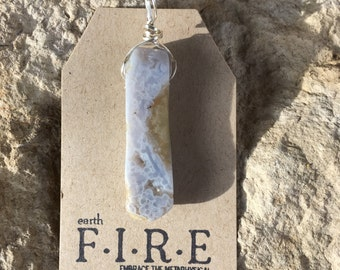Blue Lace Agate Wrapped Pendant