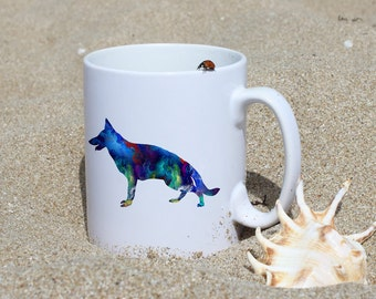 German Shepherd Mug - Dog Mug - White Ceramic Mug - Colorful Printed Mug - Tee Mug - Coffee Mug - Gift