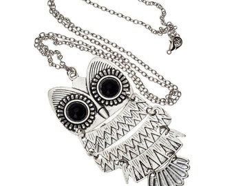 New Lady Women Vintage Silver Owl Pendant Necklace best Gift