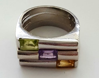 Vintage Stackable Citrine, Peridot and Amethyst Sterling Silver Rings