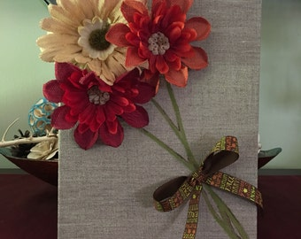 3D flower bouquet canvas deco. W/ fall- thanksgiving themed ribbon.