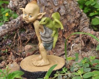 Miniature Dollhouse FAIRY GARDEN ~ Pixie with Dragon on Back ~ NEW