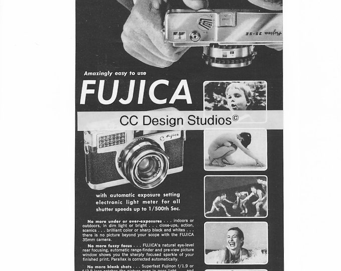 Vintage Fujica Magazine Advertisement 1960 - Collectible Film Photography Ad - 35 mm Camera - Made in Japan - Approx. 11 x 5 inches