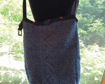Blue Cable Sweater Bag