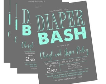 any color diaper shower invitation baby shower invitation diaper bash gender neutral baby