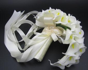 Cascading Calla Lily Bridal Bouquet, Wedding Bouquet, Bride