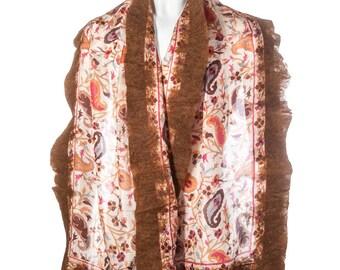 Handmade felted silk scarf shawl wrap - brown
