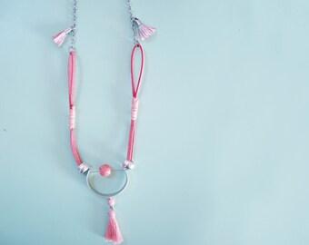 Pink tassel necklace | chaolite bras jewelry