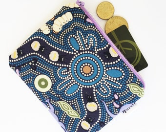Aboriginal Bush Tucker blue print coin purse