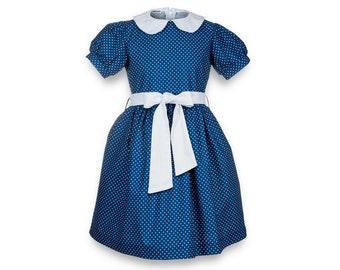 Kate dress - navy blue polka dot dress
