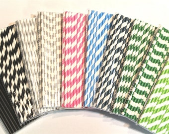 Paper Straws - Set of 25 - 10 Colors/Patterns, including Green, Black, Blue, Pink, Metallic Silver!