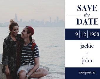 "Save the Date Postcard // Stripes // Horizontal // Custom Colors // 4""x6"" 5""x7"" // PDF Download"