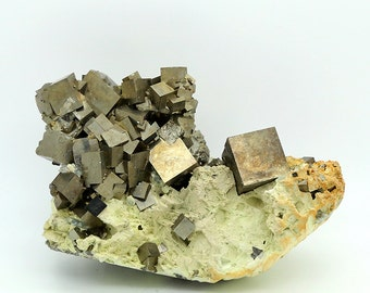 Cubic Pyrite Crystal Cluster on Matrix – 464g