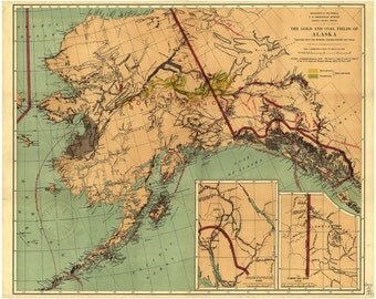 Alaska map print etsy antique alaska map vintage printable map old sepia map digital download print 1800s united states 8x10 sciox Choice Image