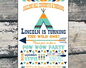 Cowboy and Indian Birthday Invitation   First Birthday Invitation   Made to Order   Customized Birthday Invitation   Digital Download