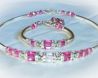 Austrian Crystal Necklace and Matching Bracelet Set – Cotton Candy