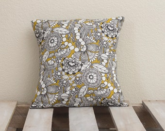 16x16 Handmade Pillow Cover (Mustard Alexandria w/ dark grey back)