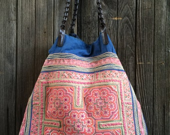 Vintage Hilltribe Handbag Tote. XL Shopper.