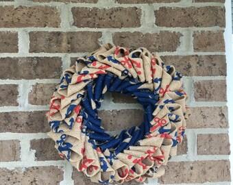Anchor and stars burlap wreath
