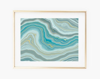 Blue Agate Waves Gold Art Print - Instant Digital Download