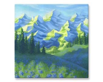 "Fine Art Landscape, Canvas Print of Mountains Painting, 12x12"", 16x16"""