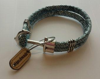 Men's Faux Leather snake skin Anchor Bracelet