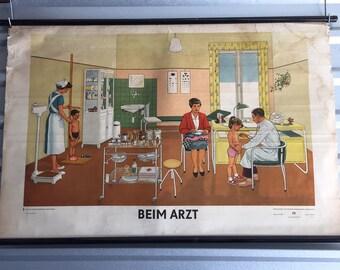 Vintage German At the Doctors school chart