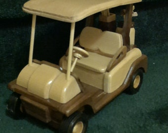 Golf Cart with bags and clubs     Wood   Hand crafted