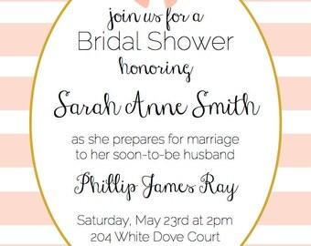 Girly Pink & Gold Bridal Shower Invitation