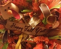 Deco mesh Wreath, fall wreath, Geo Mesh Wreath, front door decor, Thanksgiving Wreath, Autumn Wreath, Happy Fall Ya'll wreath, turkey wreath