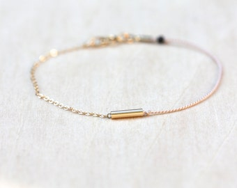 Thread and Chain Bracelet / Gold and Pink Bracelet / Dainty Bracelet / Pastel Bracelet / Gold Tube Bracelet / Blush Pink Bracelet