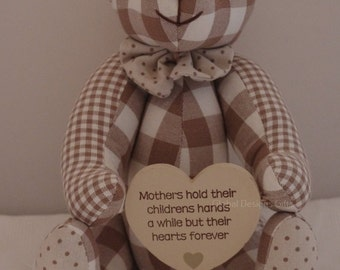 Teddy Bear Nursery Gift A Mother HoldsTheir Childrens  Hands A While Their Hearts Forever FD3592A