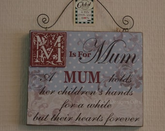M Is For A Mum Holds Her Children's Hands For A While But Their Hearts Sg1953