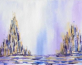 Original abstract watercolor painting-Color theme: blue, yellow and purple (#05)