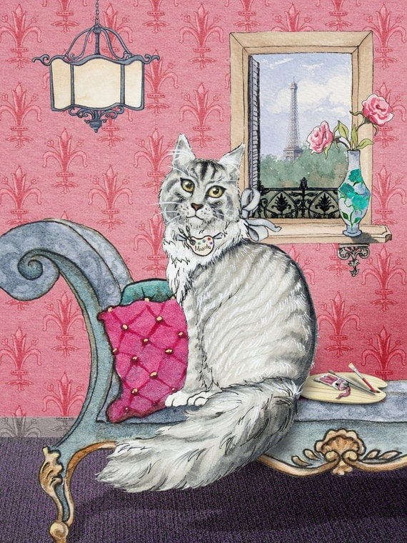Cat in Paris Wall Art Print from an original painting by Corinne Dany / cat / Paris / artist / painter / cat posing / French / France / Gift