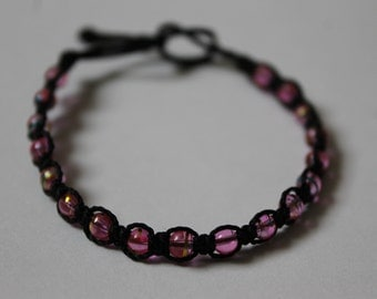 Pink Handmade Beaded Friendship Bracelet Pair